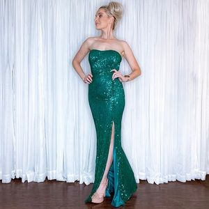 AmandaRSowards Dresses - Green Sequin Pageant Prom Homecoming Formal Dress